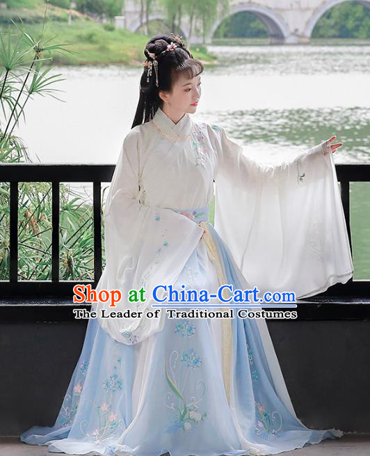 Chinese Ancient Jin Dynasty Palace Princess Hanfu Dress Embroidered Costumes for Women
