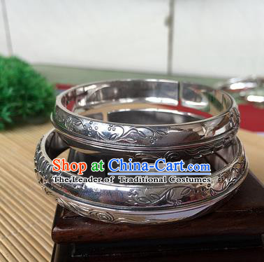 Handmade Chinese Miao Nationality Sliver Bracelet Traditional Hmong Carving Orchid Bangle for Women