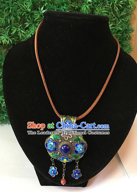 Handmade Chinese Miao Nationality Sachet Necklace Sliver Hmong Blueing Flowers Necklet for Women