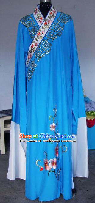 Chinese Traditional Shaoxing Opera Scholar Costumes Peking Opera Niche Embroidered Blue Robe for Adults