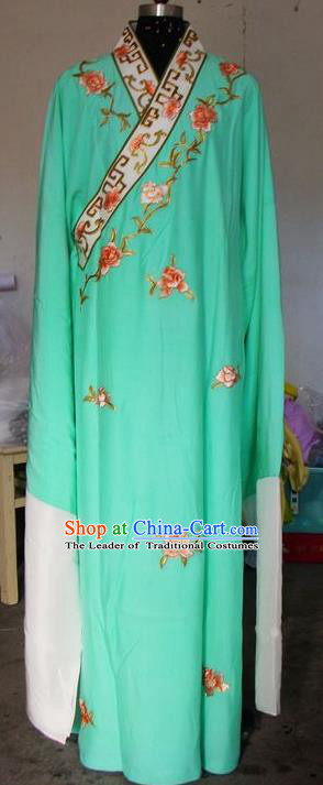 Chinese Traditional Shaoxing Opera Scholar Costumes Peking Opera Niche Embroidered Peony Green Robe for Adults