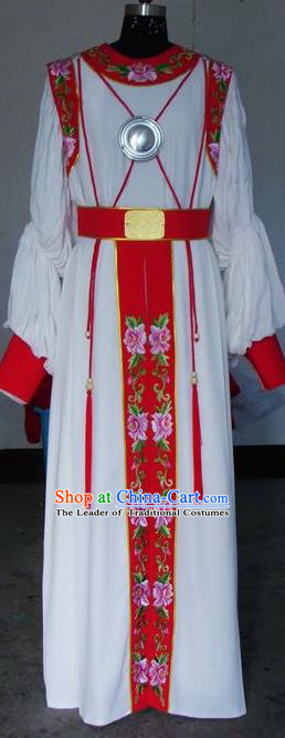 Chinese Traditional Shaoxing Opera General Embroidered White Robe Peking Opera Niche Costumes for Adults