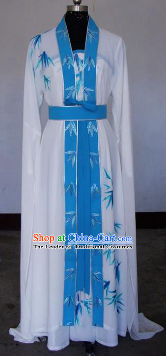 Chinese Traditional Beijing Opera Actress White Dress China Peking Opera Embroidered Bamboo Costumes for Adults