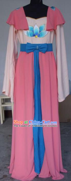 Chinese Traditional Beijing Opera Actress Pink Dress China Peking Opera Embroidered Lotus Costumes for Adults