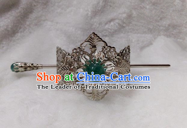 Chinese Traditional Ancient Prince Green Bead Hairdo Crown Hair Accessories Swordsman Hairpins for Men