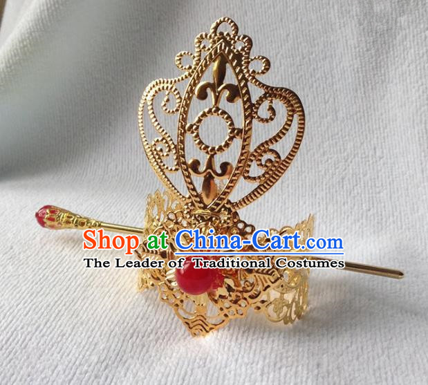 Chinese Traditional Ancient Prince Red Bead Tuinga Hair Accessories Swordsman Hairpins for Men