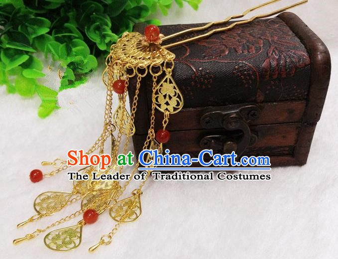 Chinese Traditional Hair Accessories Ancient Bride Hairpins Golden Tassel Step Shake for Women