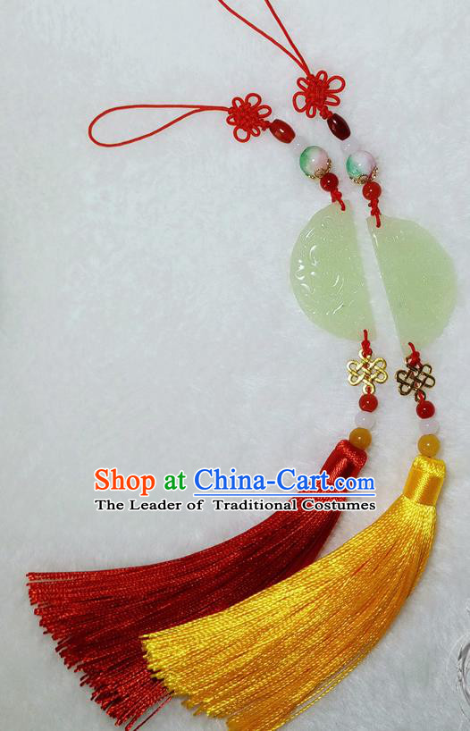 Handmade Chinese Ancient Accessories Jade Moon Tassel Waist Pendant for Women