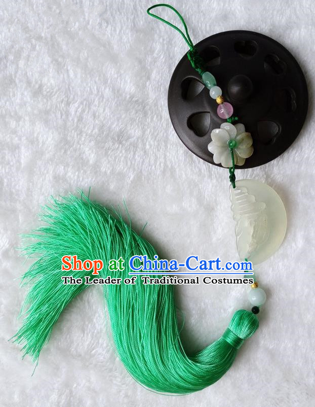 Handmade Chinese Ancient Jade Pendant Green Tassel Waist Accessories for Women