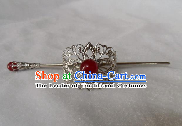 Chinese Traditional Ancient Handmade Red Bead Hairdo Crown Hair Accessories Swordsman Hairpins for Men