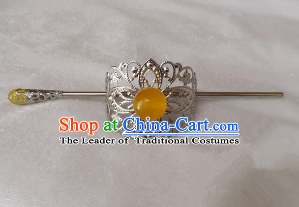 Chinese Traditional Ancient Handmade Yellow Bead Hairdo Crown Hair Accessories Swordsman Hairpins for Men