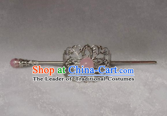 Chinese Traditional Ancient Handmade Pink Bead Hairdo Crown Hair Accessories Swordsman Hairpins for Men