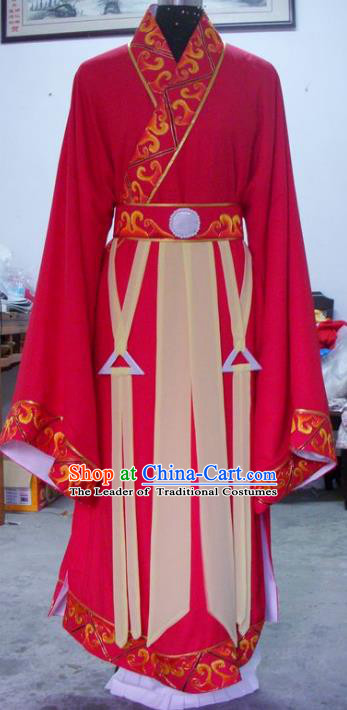 Chinese Traditional Shaoxing Opera Scholar Red Clothing Peking Opera Niche Embroidered Costumes for Adults