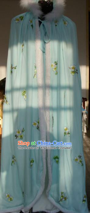 Chinese Traditional Beijing Opera Actress Embroidered Green Cloak China Peking Opera Imperial Concubine Costumes for Adults
