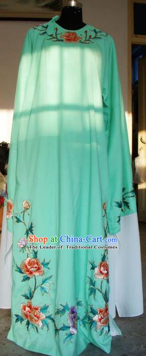Chinese Traditional Shaoxing Opera Scholar Green Clothing Peking Opera Niche Embroidered Peony Costumes for Adults