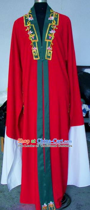 Chinese Traditional Shaoxing Opera Scholar Red Cloak Peking Opera Niche Embroidered Costumes for Adults