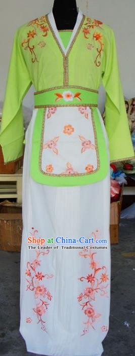 Chinese Traditional Beijing Opera Maidservants Embroidered Green Dress China Peking Opera Young Lady Costumes for Adults
