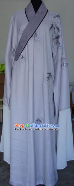 Chinese Traditional Shaoxing Opera Niche Embroidered Grey Robe Clothing Peking Opera Scholar Costume for Adults
