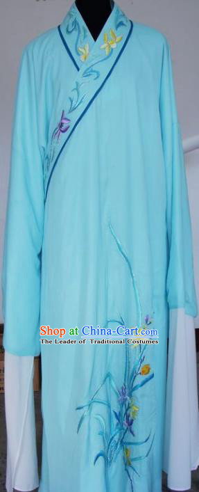 Chinese Traditional Shaoxing Opera Niche Embroidered Orchid Blue Robe Clothing Peking Opera Scholar Costume for Adults