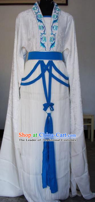 Chinese Traditional Beijing Opera Actress White Dress China Peking Opera Embroidered Lotus Costumes for Adults