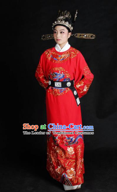 Chinese Traditional Shaoxing Opera Crown Prince Robe Peking Opera Niche Embroidered Red Costume for Adults