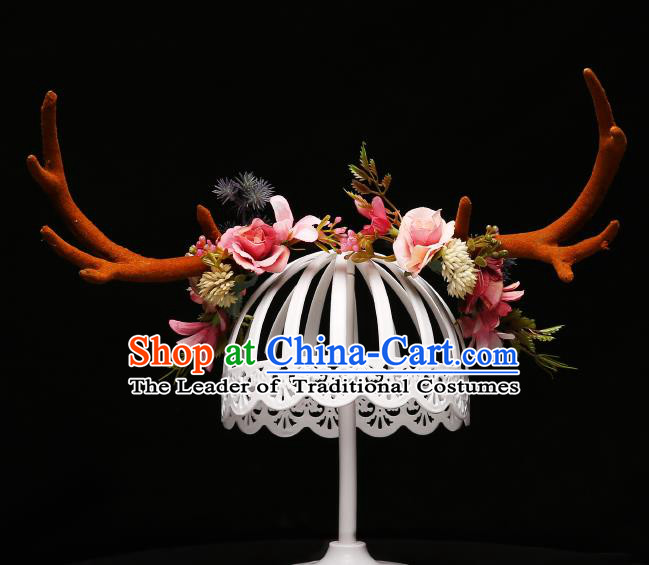 Children Modern Dance Hair Accessories Stage Performance Antlers Hair Clasp for Kids
