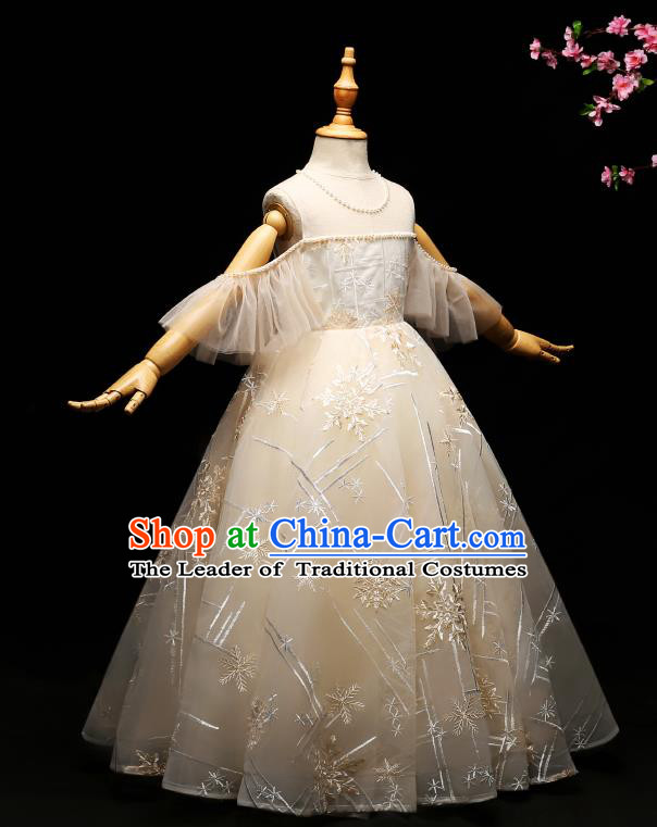 Children Modern Dance Costume Compere Full Dress Stage Piano Performance Lace Dress for Kids