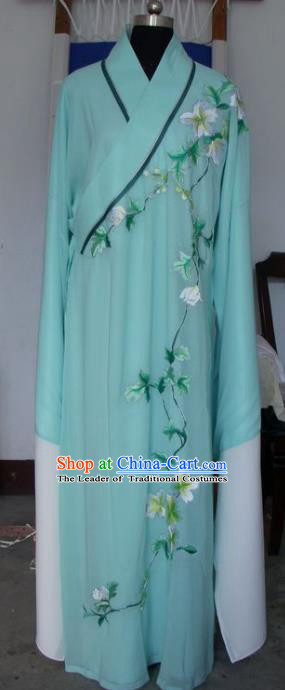 Chinese Traditional Shaoxing Opera Niche Green Robe Clothing Peking Opera Scholar Embroidered Costume for Adults