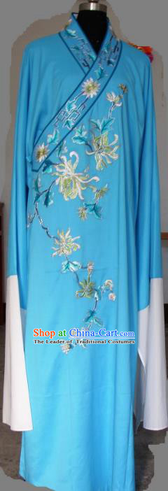 Chinese Traditional Shaoxing Opera Niche Blue Robe Clothing Peking Opera Scholar Embroidered Chrysanthemum Costume for Adults