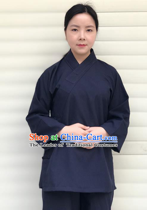 Chinese Traditional Martial Arts Taoist Nun Costumes Tai Chi Kung Fu Navy Shirt for Women