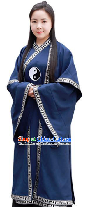 Chinese Traditional Taoist Nun Costumes Tai Chi Kung Fu Navy Priest Frock for Women