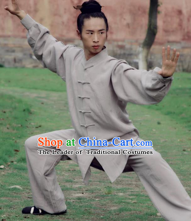 Chinese Traditional Martial Arts Costume Tai Chi Kung Fu Grey Clothing for Men