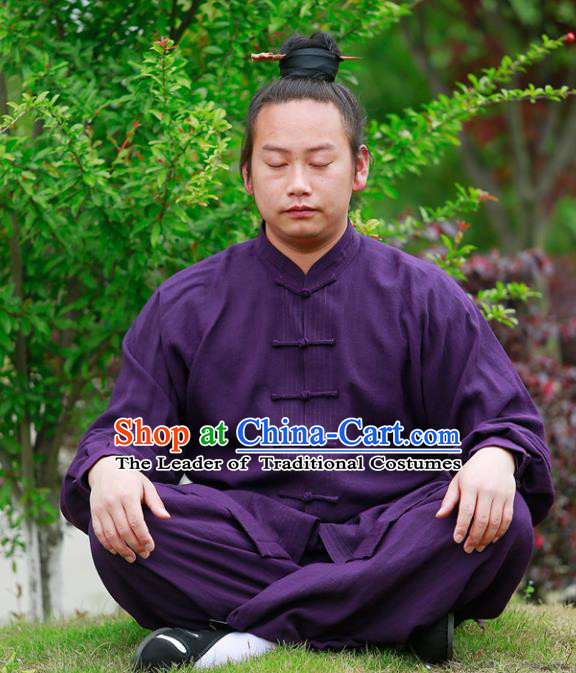 Chinese Traditional Martial Arts Costume Tai Chi Kung Fu Purple Clothing for Men
