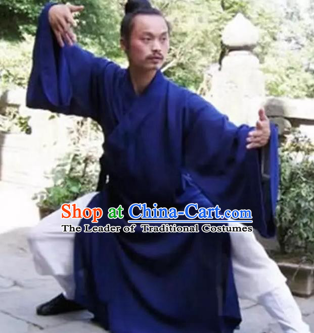 Chinese Traditional Martial Arts Costumes Tai Chi Clothing Taoist Kung Fu Navy Priest Frock for Men