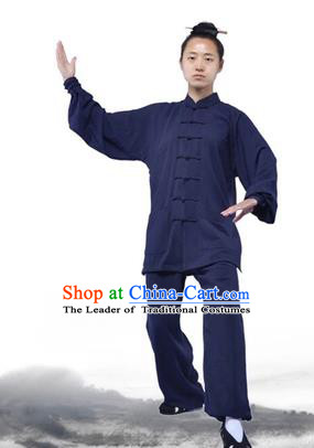 Chinese Traditional Martial Arts Costumes Tai Chi Kung Fu Navy Suits for Women