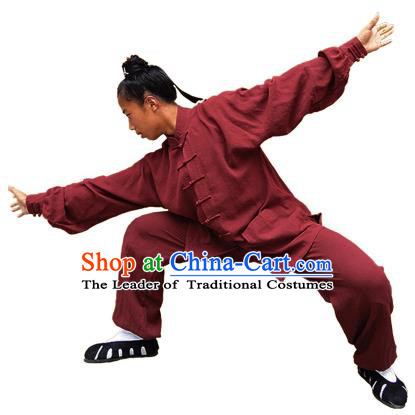 Chinese Traditional Martial Arts Costume Tai Chi Kung Fu Wine Red Clothing for Men