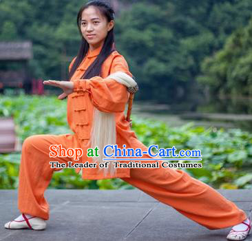 Chinese Traditional Martial Arts Costumes Tai Chi Kung Fu Orange Suits for Women