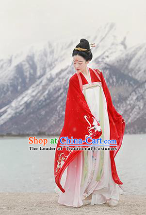 Chinese Ancient Tang Dynasty Imperial Concubine Hanfu Dress Embroidered Costumes Complete Set for Women