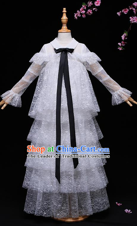 Children Modern Dance Costume Compere Full Dress Stage Piano Performance Princess White Veil Dress for Kids