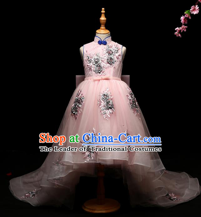 Children Modern Dance Costume Compere Full Dress Stage Performance Chorus Pink Trailing Dress for Kids