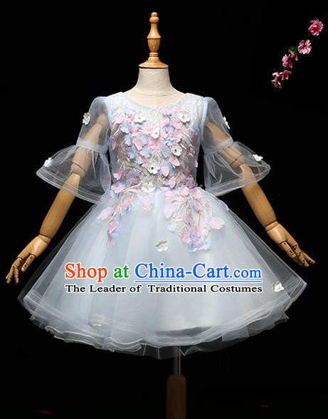 Children Modern Dance Costume Princess Full Dress Stage Performance Chorus Blue Bubble Dress for Kids