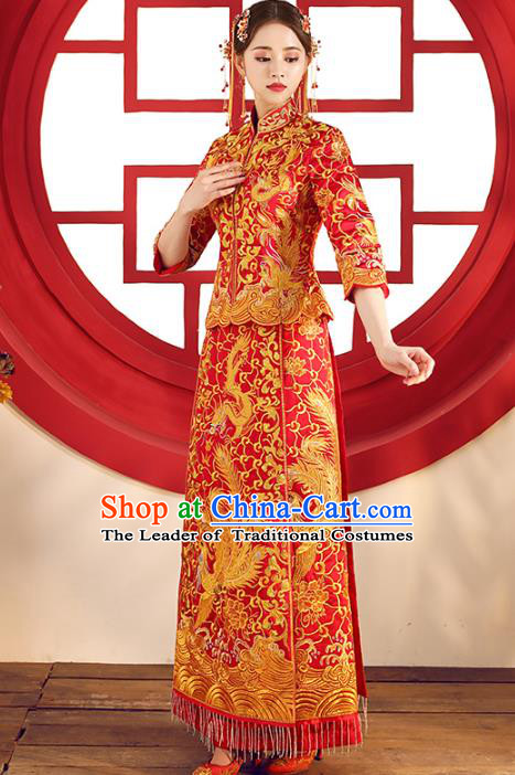 Top Grade Chinese Traditional Wedding Costumes Xiuhe Suits Bride Red Embroidered Phoenix Dress for Women
