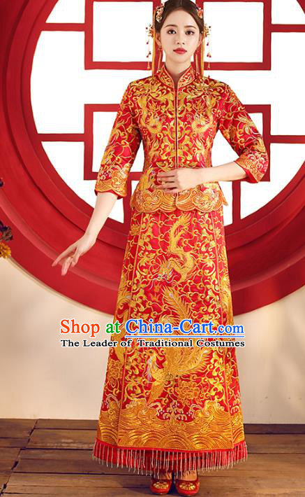 Top Grade Chinese Traditional Wedding Costumes Bride Embroidered Dragon Phoenix Xiuhe Suits for Women