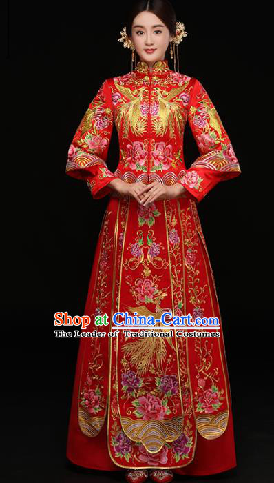 Chinese Traditional Wedding Costumes Top Grade Longfeng Flown Bride Embroidered Phoenix Trailing Xiuhe Suits for Women