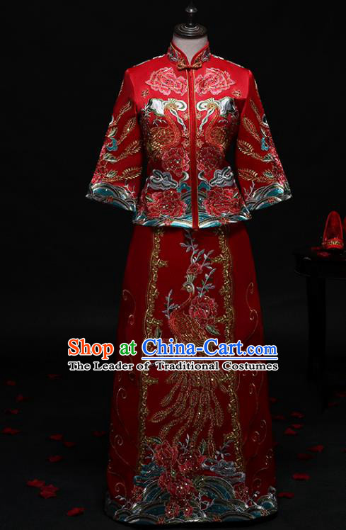 Chinese Traditional Embroidered Phoenix Wedding Costumes Ancient Diamante Longfeng Flown Bride Xiuhe Suits for Women