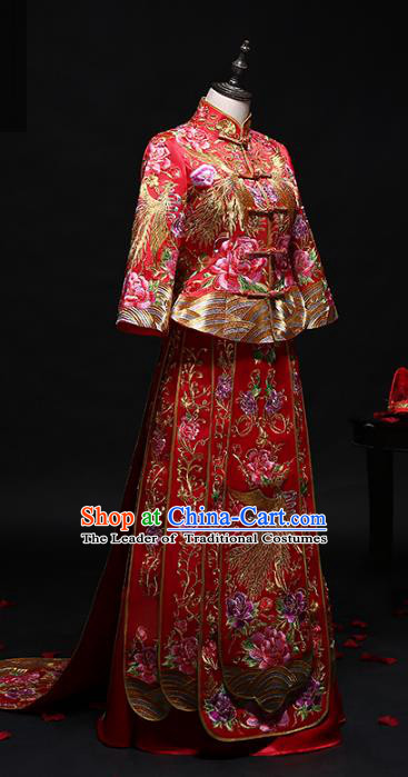 Chinese Traditional Embroidered Peony Phoenix Wedding Costumes Ancient Diamante Longfeng Flown Bride Xiuhe Suits for Women