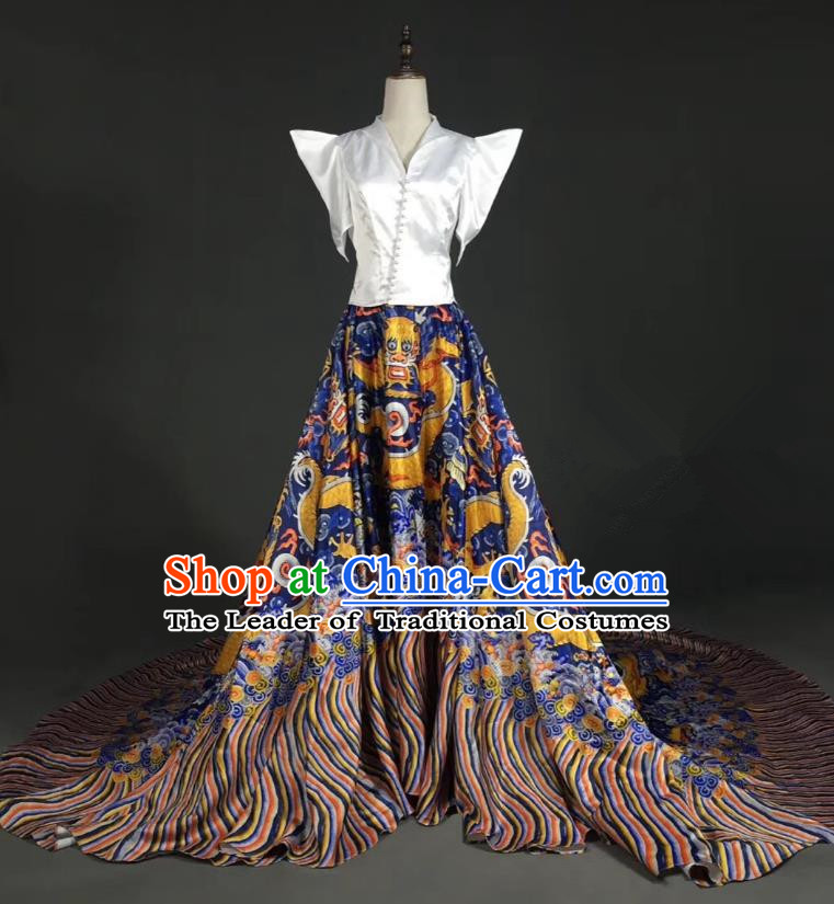 Top Grade Compere Stage Performance Customized Costume Models Catwalks Printing Trailing Full Dress for Women
