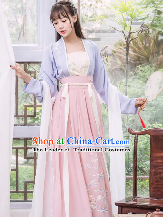 Chinese Traditional Song Dynasty Nobility Lady Costumes Ancient Peri Hanfu Dress for Women