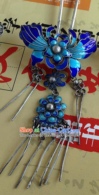 Chinese Traditional Ancient Hairpins Hair Accessories Cloisonne Butterfly Hair Clip for Women