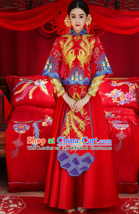 Chinese Traditional Wedding Costumes Top Grade Longfeng Flown Bride Embroidered Phoenix Xiuhe Suits for Women